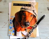 Fathers Day Thank You For Protecting Me from Monsters Card - Foil Hat Sausage Dog