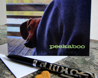 Peekaboo Dachshund Greeting Card
