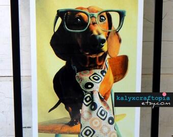 Dachshund Print Photography- Mid Century Mad Dog