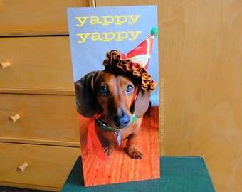 Birthday Card Party Crasher Dachshund - double sided Yappy Yappy Joy Joy Flat Card