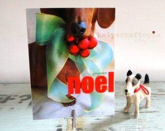 Dachshund Christmas Card Set of 5 - Joyeux Noel