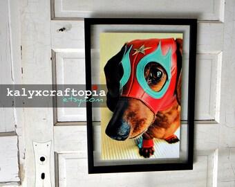 Dachshund Art Lucha Libre Print - El Salchicha Mexican Wrestler