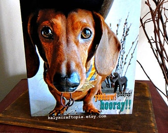 BIRTHDAY Dachshund Cowboy Rodeo Western Birthday Card