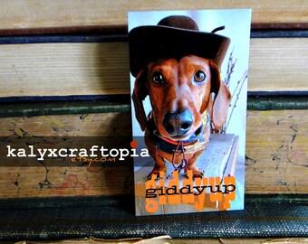 Giddyup Dachshund Cowboy Western Rodeo Magnet