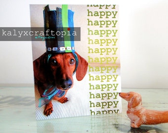 Happy Birthday Dachshund Blue Green Ombre Crown Card