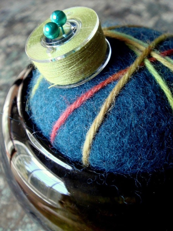 Felted Pincushion - Peacock Blue  Wool in Olive Glass Base (large)