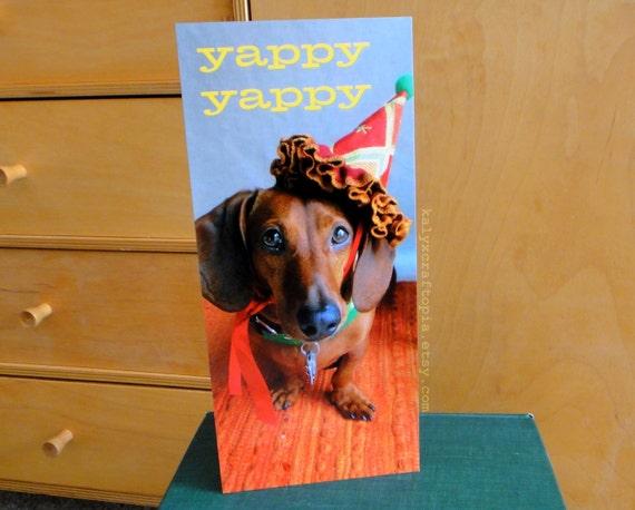 Birthday Card Party Crasher Dachshund - double sided Yappy Yappy Joy Joy Flat Card