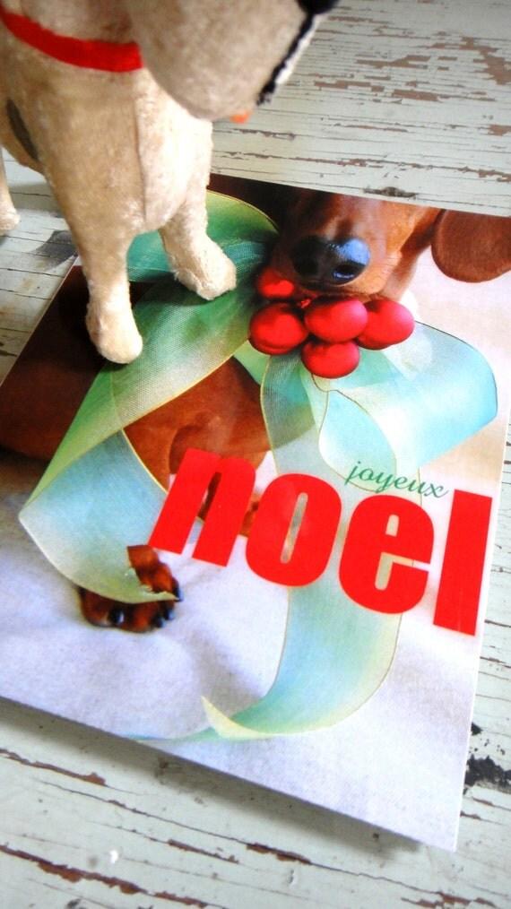 Christmas Dachshund Card - Joyeux Noel