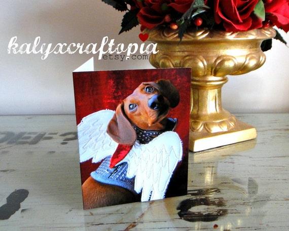 Dachshund Valentine Cupid Card