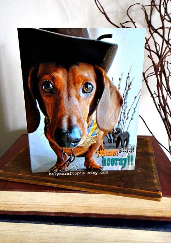 BIRTHDAY Dachshund Cowboy Rodeo Western Birthday Card