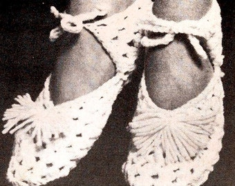 Granny Slippers Vintage Crochet Pattern,slipper pattern,crochet pattern, vintage pattern