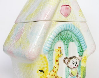 Vintage Collectible Cookie Jar Japan House of Bear and  Giraffe