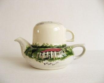 Vintage Ceramic Folk Art Teapot and Mug painted By Jeanne Koch