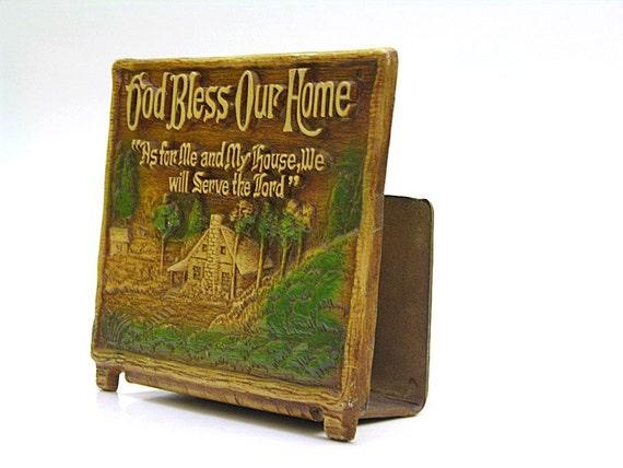 Vintage God Bless Our Home Napkin or Letter Holder
