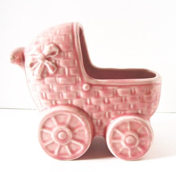 Vintage Ceramic Pink Baby Carriage Cart Planter