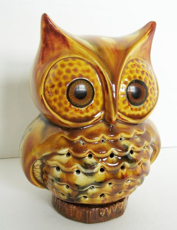 Vintage Ceramic Owl Decor Used To Be A Night Light By