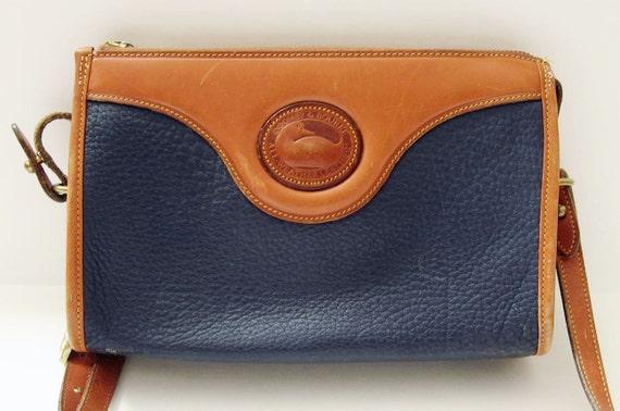 Vintage Dooney & Bourke Camel Blue Leather Cross Body Handbag