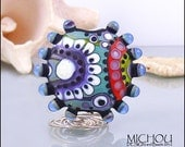 OCEAN creatures - Lampwork Glassbead in shades of blue, grey and green, red, purple, white and black by Michou