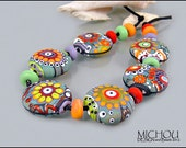 Ocean Soul - large Set of 17 lampwork beads in the shades of green, blue, grey, coral, red, purple and green by MICHOU