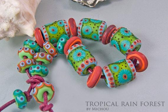 Michou  -  Tropical rain forest ( set - glass beads )