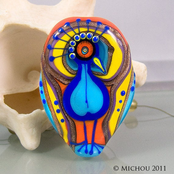 MICHOU - Paradise Bird with Angel Wings - Art Glass Bead