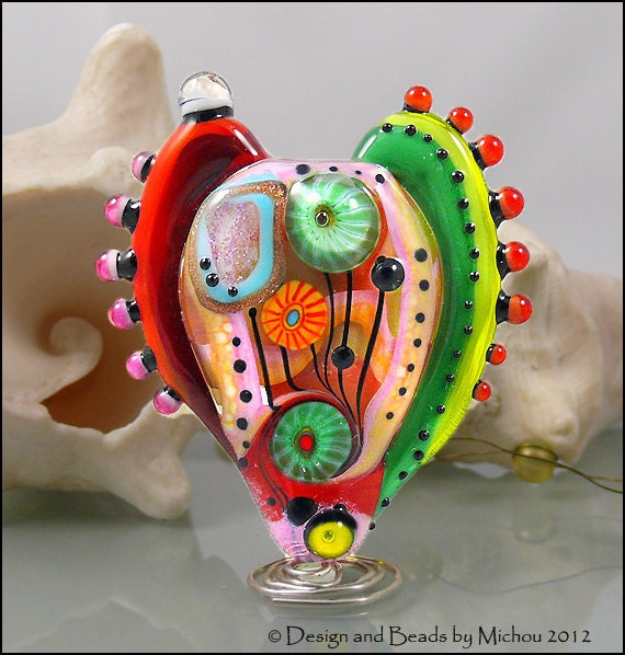 """MICHOU Anderson Lampwork Beads -  Large glass Heart bead in pink/coral, green, and red """"ART Heart"""" Nr.2"""