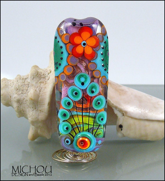 3 dimensional Flower design in pink, red, coral, turquoise, dark green  - lampwork focal bead by MICHOU