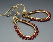 Semi Precious Red Garnet Gem Gold Hoops Dangle Earrings