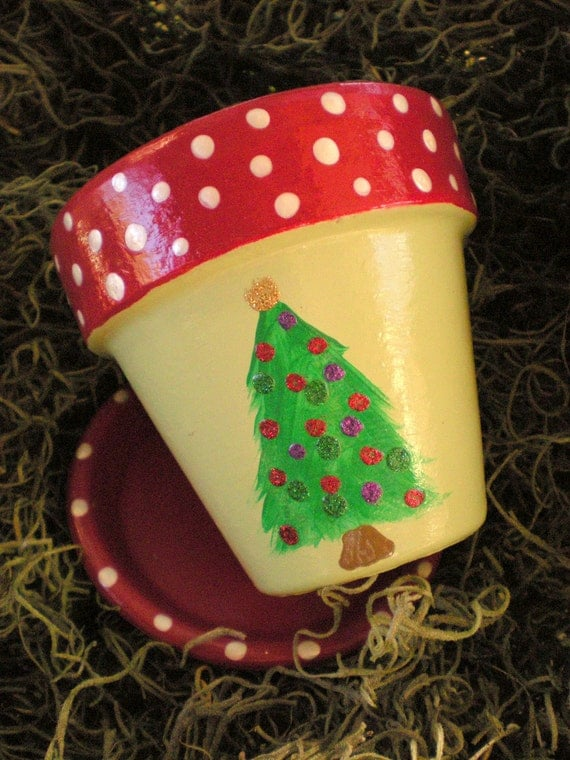 Christmas Tree Flower Pot Hand Painted In Red White And