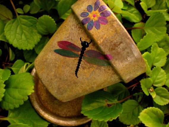 Metallic Dragonfly - Hand Painted Flower Pot - Reserved for Erica