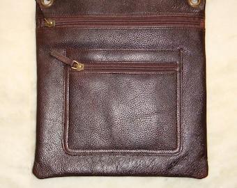 100 Percent Real Leather Sling bag- dark Brown.
