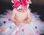 Polka Dot Birthday Party Tutu size 6-12 months  OTHER SIZES AVAILABLE UPON REQUEST