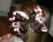 Custom Listing for Autumn Markley pink/brown polka dot Hairbow