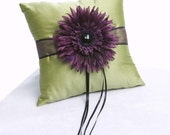 Green and purple ring bearer pillow