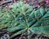 MarveLes SWIRLY LEAF Hand Painted and Quilted Tablerunner Leslie McNeil