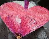 MarveLes HEART VALENTINE Bookmark keepsake Mothers Day pink mini quilt