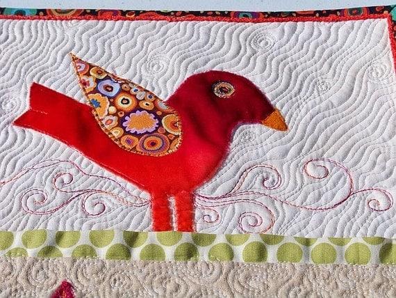 MarveLes BIRD in the VELVET Original Art Quilt Coral Velvet Green Linen