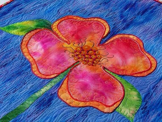 MarveLes PEACHY POSY Wall Art Flower Quilt Blue Peach Pink Spring Leslie McNeil