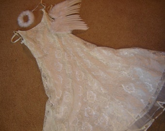 Costume angel tooth fairy Halloween ivory lace dress feather wings halo womens sz 3