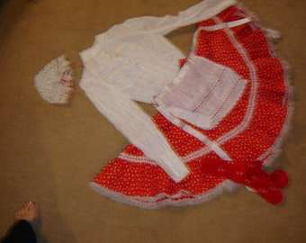 Raggedy Ann Halloween Costume red white hearts skirt top apron  womens sz