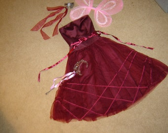 fairy princess maroon floaty dresspink  wings headpiece wand womens sz XXS ) Halloween Costume