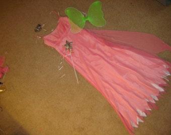 fairy princess apricot dress green wings headpiece wand womens sz S 3 4 Halloween Costume