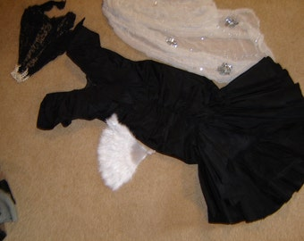 SPANISH dancer flamenco Costume Saloon showgirl black taffeta dress fan shawl womens sz S Halloween