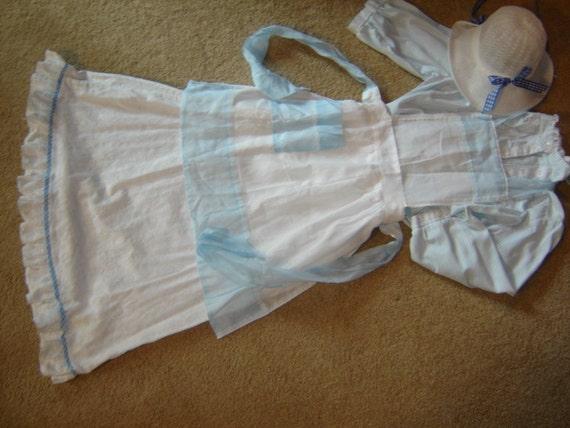 Prairie PIONEER blue white 2 pc dress hat apron COSTUME womens 5