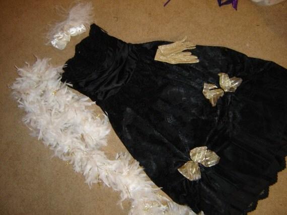 Western Saloon showgirl dress cancan black lace boa womens sz 10 costume Halloween