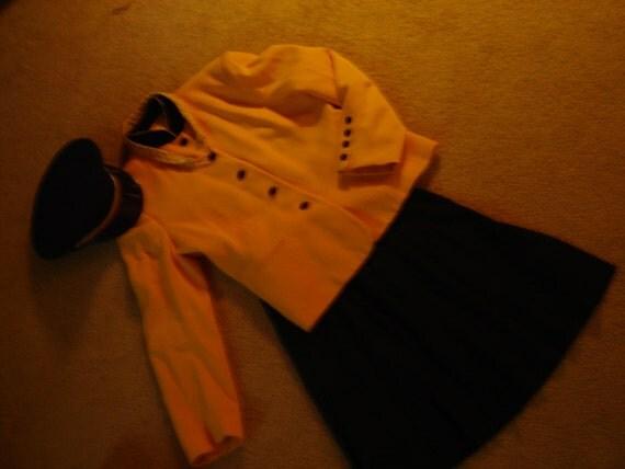 Costume Military ships Captain yellow jacket black pleat skirt hat womens sz M Halloween