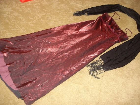 Jane Austin Emma burgundy Empire dress early Victorian Dickens COSTUME Halloween womens 10 vintage
