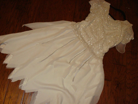 Costume angel tooth fairy Halloween white beaded dress wings womens sz 14
