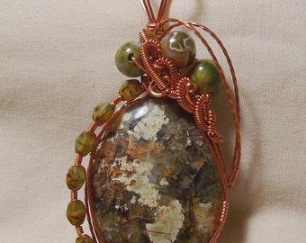 Rare Pictoral Chrysoberyl - Copper Wire Wrapped Pendant