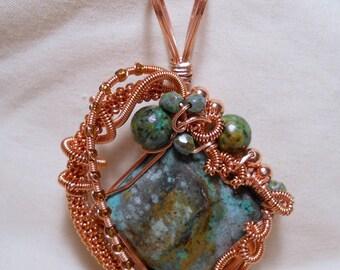 Primordial Copper - Copper Wire Wrapped Pendant
